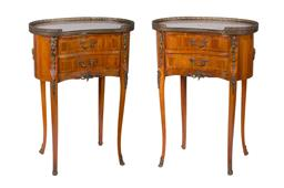 Sale 9123J - Lot 72 - A pair of kidney shaped Paris apartment vintage French marquetry inlaid with brass mounts bed side tables. Approx. 67 x 48 x 27 cm --