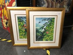 Sale 9152 - Lot 2079 - A pair of paintings depicting birds in a tropical rainforest, frame: 66 x 57 cm, both signed -