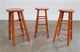 Sale 9191 - Lot 1082 - Set of 3 timber barstools (h:63 x d:30cm)