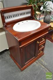 Sale 8480 - Lot 1154 - Timber Tiled Back Washstand