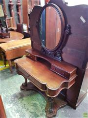 Sale 8601 - Lot 1414 - Victorian Mahogany Dressing Table, with carved lyre shaped support, two trinket & frieze drawer, on carved cabriole legs & plinth ba...