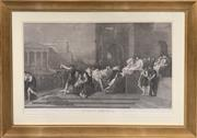 Sale 8686 - Lot 2053 - C18th Lithograph Depicting Classical Roman Scene, Junius Brutus 93 x 131 cm (frame size)