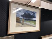 Sale 8789 - Lot 2162 - Chris Williams - Figure and Beachscape, acrylic, 46 x 60.5cm (frame), signed