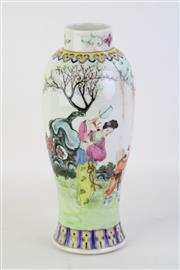 Sale 8802 - Lot 428 - A Famille Verte Vase with Dancing Scene