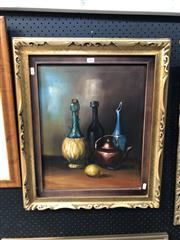 Sale 8816 - Lot 2003 - Artist Unknown - Still Life, Bottles, Teapot and Lemon, acrylic on canvas, frame sixe: 56 x 66cm