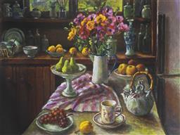 Sale 9096A - Lot 5036 - Margaret Olley (1923 - 2011) - Ranunculus & Pears 50 x 68 cm (frame: 82 x 98 x 3 cm)