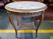 Sale 8598 - Lot 1095 - Louis XVI Style Gilt Occasional Table, the oval marble top with pierced frieze below, raised on cabriole legs joined by a concave si...