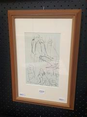 Sale 8650 - Lot 2008 - Bill Coleman - Model Studies, pen on paper, 38.5 x 27cm (frame), bears signature lower left