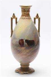 Sale 8677 - Lot 30 - Crown Devon Highland Cattle Vase Signed G. Cox