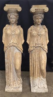 Sale 8706A - Lot 1 - A pair of impressive carved stone caryatid columns depicting female figures, general wear, some chipping, H 163 x W 45cm
