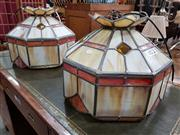 Sale 8740 - Lot 1078 - Pair of Leadlight Hanging Light Shades (some damage & some repairs) -
