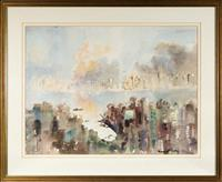Sale 8735 - Lot 71 - Margaret Coen, Neutral Bay from Cahill Expressway, watercolour, signed lower right, 53 x 72.5