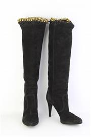 Sale 8823 - Lot 51 - A pair of Sergio Rossi black suede knee high boots, with stiletto heel and interlocking gilt metal chain and trim, Made in Italy, si...