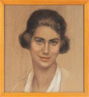 Sale 8976H - Lot 49 - Attributed Schaler (German/Austrian?) Portrait of a young womanWatercolour Gouache 37X34cm