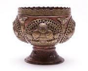 Sale 9023O - Lot 570 - Tibetan copper and bronze ceremonial stem bowl (Dia23cm H20.5cm)