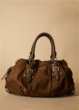 Sale 9093F - Lot 75 - A Prada leather and canvas brown shimmer handbag