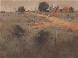 Sale 9161A - Lot 5018 - COLLEEN PARKER (1944 - 2008) - Red Brick Cottages Near Bathurst 44.5 x 60 cm (frame: 64 x 78 x 5 cm)