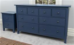 Sale 9256H - Lot 79 - An indigo painted four short four long drawer chest of drawers, H 96cm x W 162cm x D 51cm, together with a matching two drawer bedsi...