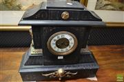Sale 8460 - Lot 1064 - 19th Century Black Slate Mantle Clock (missing key & minute hand)