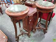 Sale 8559 - Lot 1006 - Pair of French Style Tall Brass Mounted Pedestals, with green marble tops & veneer work