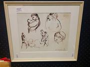 Sale 8650 - Lot 2024 - Bill Coleman - Model Studies, pen on paper, 34 x 39cm (frame), bears signature lower left