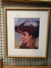 Sale 8678 - Lot 2017 - Artists Unknown - Portrait of an Edwardian Woman pastel, 20 x 25cm, signed lower left, plus a Landscape watercolour by an Unknown Ar.