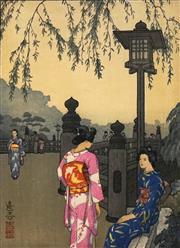 Sale 8696A - Lot 5047 - Toshi Yoshida (1911 - 1995) - Benkei Bridge 24 x 17cm