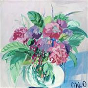 Sale 8704 - Lot 518 - Mia Oatley (1977 - ) - Floral Arrangement 87 x 87cm