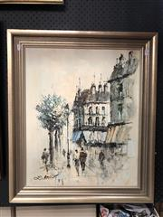Sale 8816 - Lot 2008 - L Bassey - Parisian Street Scene, 34.5 x 63cm, signed lower left