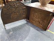 Sale 8826 - Lot 1075 - Copper Fire Screen and Wall Plaque