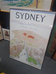 Sale 8833 - Lot 2082 - Framed Sydney Australia Print Damage To Glass