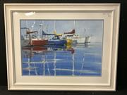 Sale 8953 - Lot 2053 - John N Pearson Relaxing at the Marina oil, 74 x 94cm (frame) signed lower right
