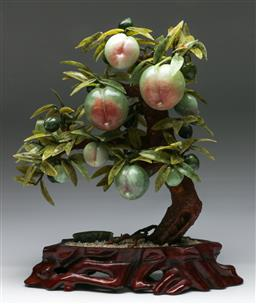 Sale 9138 - Lot 23 - Large Greenstone Chinese Faux Fruit Tree (H:48cm W:40cm)