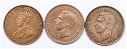 Sale 9153 - Lot 85 - A group of three Australian weak strike error penny coins