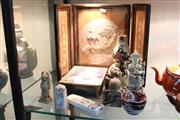 Sale 8308 - Lot 84 - Chinese Crane Figure Table Screen With Other Oriental Wares Incl Carved Stone Seal