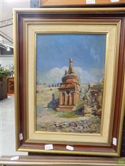 Sale 8561 - Lot 2061 - Artist Unknown Monument oil on pulp board, 34 x 23cm, signed lower right