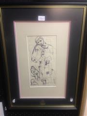 Sale 8655 - Lot 2062 - Bill Coleman - Model Studies, pen on paper, 53 x 38cm(frame), bears signature lower left