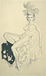 Sale 8666A - Lot 5042 - Norman Lindsay (1879 - 1969) - Aloha (Plate 4) 27.8 x 17cm (frame: 55.5 x 45.5cm)