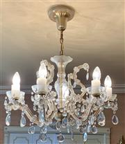 Sale 8510A - Lot 35 - Two Venetian eight branch chandeliers (one A/F), drop approx 48cm together with another smaller (purchaser of this lot must organise...