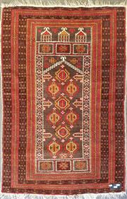 Sale 8714 - Lot 1057 - Possibly Baloch Prayer Rug in red and brown tones (128 x 90cm)