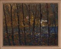 Sale 8735 - Lot 73 - Salvatore Zofrea, Forest Moonlight, oil on canvas, 69 x 89cm
