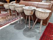 Sale 8889 - Lot 1078 - Collection Of Wicker Baskets On Stands With Collection Of Driftwood