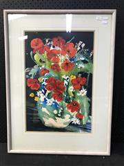 Sale 8953 - Lot 2054 - C. Bluett Poppies oil and watercolour on paper, 78 x 58cm (frame), signed