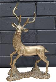 Sale 9026 - Lot 1003 - Ornate Brass Figure of a Stag with 6 Pointer Antlers (H: 36cm)