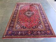 Sale 9051 - Lot 1069 - Persian Red Tone Carpet With Blue Border (304 x 200cm)