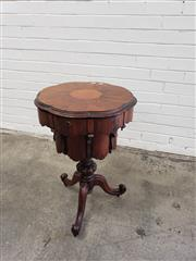 Sale 9068 - Lot 1061 - Victorian Tiered Rosewood Sewing Cabinet, the lobed top (loose) enclosing a divided interior with central basket, above a conform