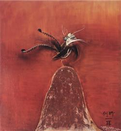 Sale 9042A - Lot 5094 - Brett Whiteley (1939 - 1992) - Lyrebird 59 x 54 cm (frame: 88 x 83 x 3 cm )