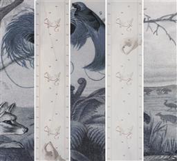 Sale 9084 - Lot 557 - Sascha Holyoak (1974 - ) (5 works) - Religio I,II,III,IV,V, 2004 164.5 x 35 cm (frame: 188 x 59 x 4 cm ) each