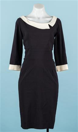 Sale 9092F - Lot 40 - A BLACK PENCIL DRESS BY THE PRETTY DRESS COMPANY, with a Peter Pan collar and cuffs, Size UK 10