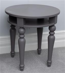 Sale 9256H - Lot 75 - A grey circular occasional table with under shelf, raised on baluster legs, H 64cm x D 60cm.